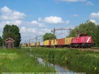Railion loc 6519 met containertrein  |  Dordrecht Zuid  |  21 mei 2004   [244 kB]
